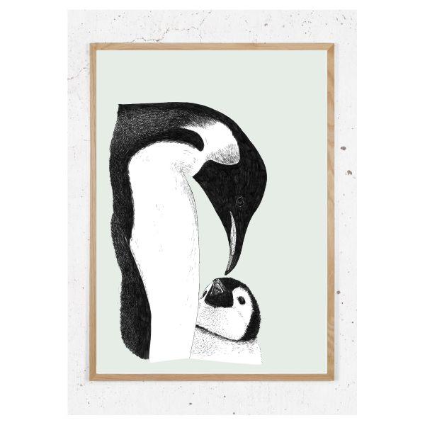 Pingvin med unge_Støvet grøn