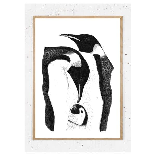 Plakat med pingviner