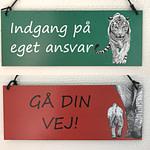 Dørskilt med tiger og elefanter
