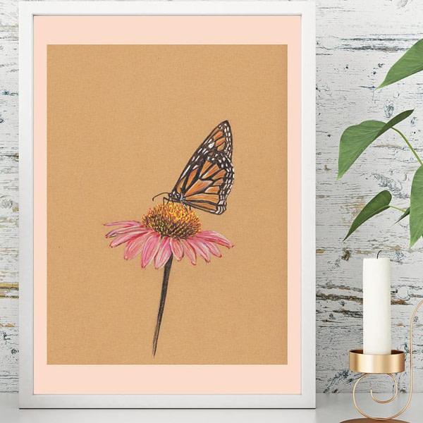 Plakater med dyr - Sommerfugl på solhat