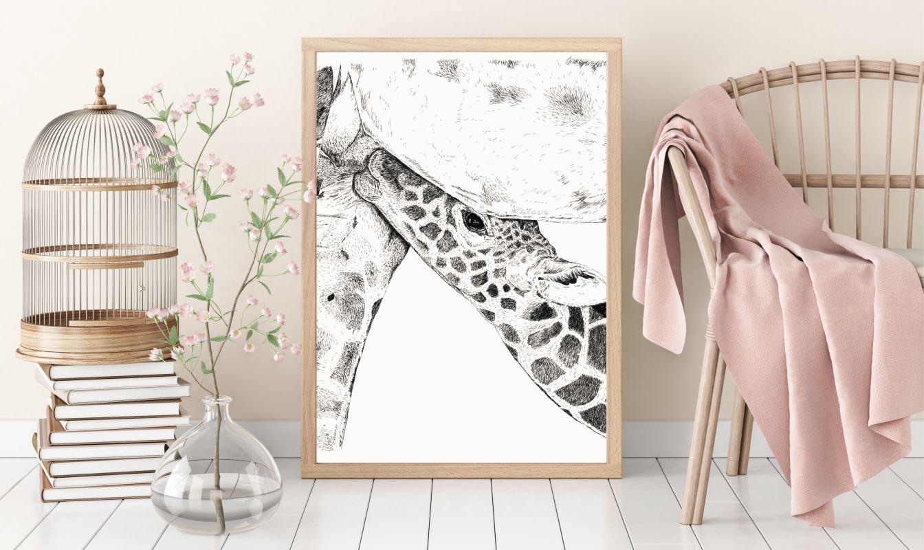 Plakater med dyr - Girafunge der diger