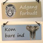 Dørskilt med løve og elefantunge