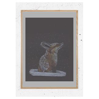 Plakat med ræv i sne
